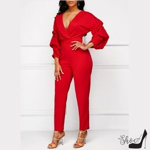 Pants - Red High Waist Ruched Sleeve Wrap Top Jumpsuit